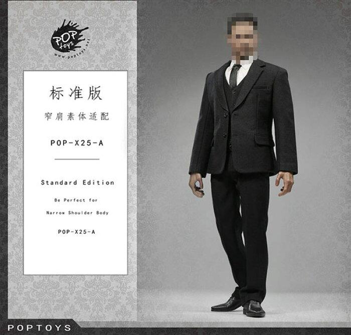 1/6 メンズ スーツ セット ブラック (ドール用衣装)[POP Toys]《06月仮予約》