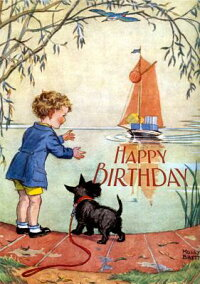 BoyandScottieDogAwaitingBirthdayBoat-BirthdayGreetingCard(6CardsIndividuallyBaggedW/[MollyBrett]