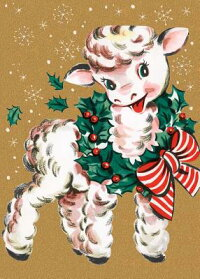 LambWearingBeribbonedWreath-ChristmasCard(6CardsIndividuallyBaggedW/Envelopes&Header)[Unknown]