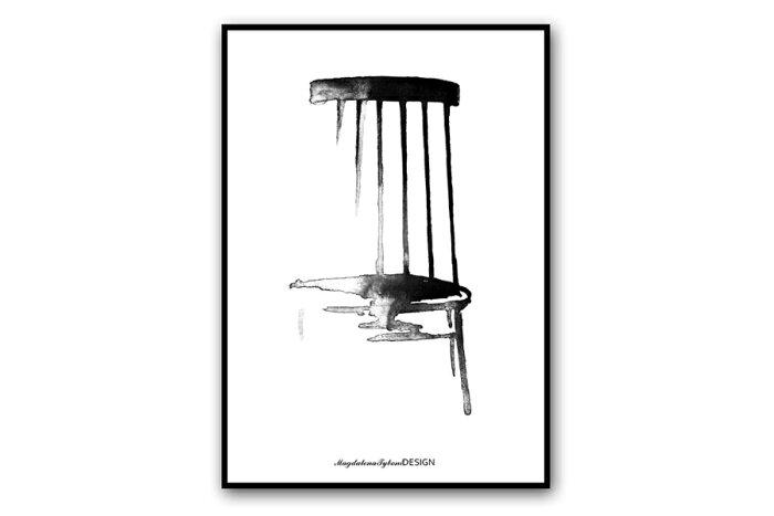 Magdalena Tyboni Design ポスター/アートプリント 30 x 40 cm Pinnstolen【北欧 スウェーデン チェア 椅子 家具 イラスト インテリア おしゃれ 壁掛け 絵画 パネル モダン モノクロ モノトーン】
