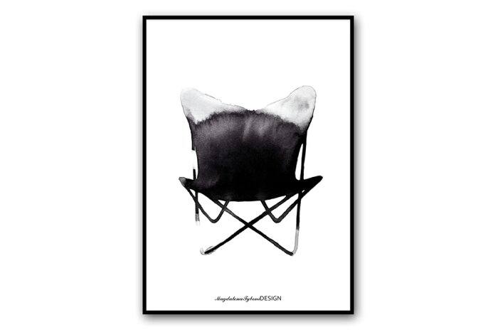 Magdalena Tyboni Design ポスター/アートプリント 30 x 40 cm Chair Butterfly【北欧 スウェーデン デンマーク バタフライチェア 椅子 家具 イラスト インテリア おしゃれ 壁掛け 絵画 パネル モダン モノクロ モノトーン】