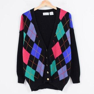 lermer菱形花纹丙烯编织物对襟毛衣女士l~xl/wag8087