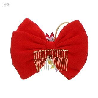"""对蝴蝶结头饰单物品""""红色的蝴蝶结,tsumaminoo花,金银的带子装饰""""裤裙"""