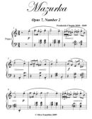 Mazurka Opus 7 Number 2 - Easy Intermediate Piano Sheet Music