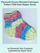Plymouth Encore Worsted Colorspun Yarn Knitting Pattern F228 Kids Slipper Socks
