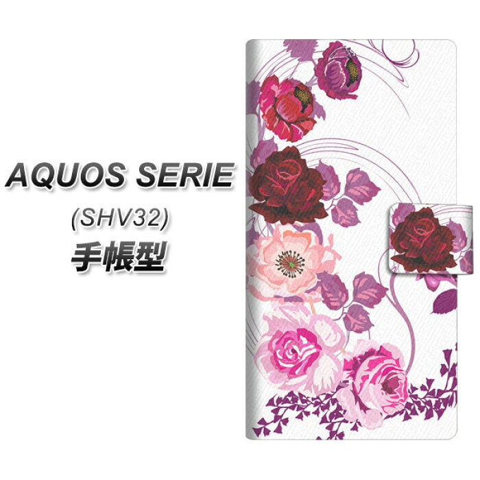 au AQUOS SERIE SHV32 手帳型スマホケース<br>【116 6月のバラ】<br>(アクオスセリエ shv32/SHV32/スマホケース/手帳式)