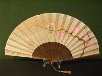 富凯风扇 x karin 和染色丝绸织物 7 katazome 画梅花 2 / 女扇扇子