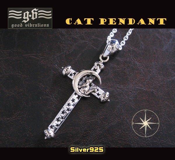 good vibrations【GV】星と月とネコの十字架ペンダントSV+B/(メイン)シルバー925銀ネックレス猫・ねこ・動物クロスgoodvibrations送料無料!