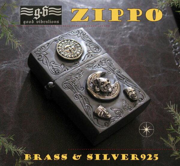 【GV】ZIPPOライター・仮面舞踏会SV+B/【メイン】(新品2月2)金色・真鍮製(ブラス製)・シルバー925製銀・ドクロ・スカルgoodvibrations