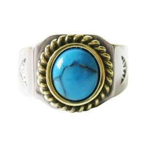 ターコイズリング(3)金縄 メイン インディアンジュエリー ネイティブ 天然石 パワーストーン 指輪 リング シルバー925製 銀 アクセサリー メンズ 送料無料 おしゃれ