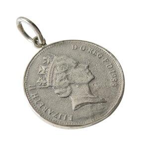 コインペンダント(1)白地 メイン シルバー925 ペンダント コイン 銀 ネックレス メンズ レディース アクセサリー 硬貨 ユニセックス エリザベス女王 送料無料 おしゃれ