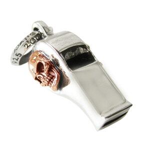 ホイッスルペンダント(7)スカルSV+銅 メイン 笛 ホイッスル スカル 髑髏 ペンダント ネックレス シルバー925製 銀 アクセサリー メンズ レディース 送料無料 おしゃれ