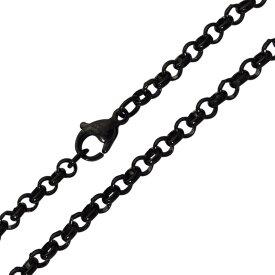 ステンレスネックレス 黒色 甲丸チェーン3.5mm選択可40cm 45cm 50cm メイン サージカルステンレス製 316L メンズ レディース 送料無料 アクセサリー ステンレスチェーン 送料無料 おしゃれ プチプライス ユニセックス 男女兼用