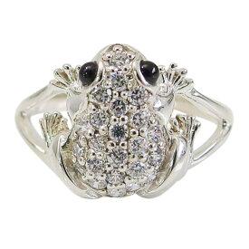 カエル リング カエルの指輪(4)CZ オニキス07号 09号 10号 11号 12号 13号 14号 15号16号 17号 19号 シルバー925 銀 メンズ レディース アクセサリー 蛙 かえる 天然石 指輪 リング カエル 指輪 aft