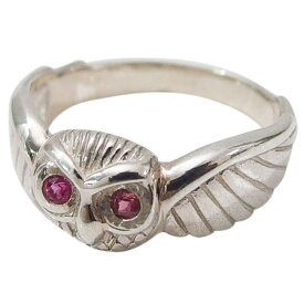 フクロウの指輪(4)ピンクCZ07号 09号 11号 13号 15号 シルバー925 銀 メンズ レディース アクセサリー 梟 動物 指輪 リング aft