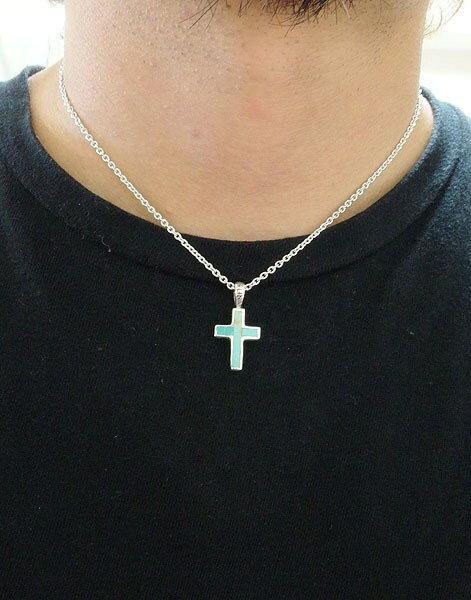 ターコイズクロス(6)/(メイン)天然石ペンダントシルバー925銀ネックレス十字架(新品529)