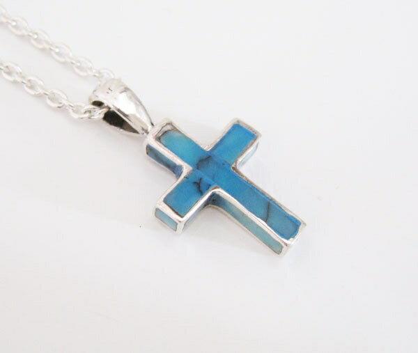 ターコイズクロス(7)/(メイン)(新品813)クロスネックレス十字架ペンダントターコイズシルバー925製銀