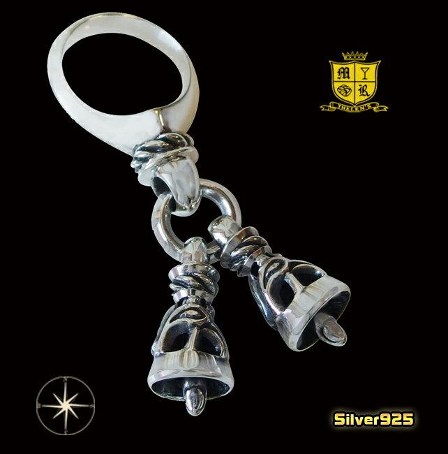 2つのベルが揺れる指輪(1)05号・07号・08号・09号・10号・11号・12号・13号・14号・15号・16号・17号・18号・19号・20号・21号・22号・23号・24号・25号/【メイン】シルバー925製指輪リング銀鈴型リング送料無料!クレーンベル スウィング