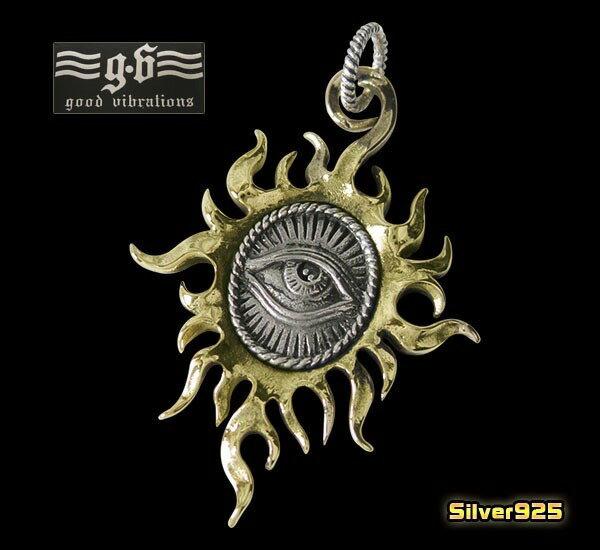 goodvibrations【GV】プロビデンスの目(太陽デザイン)ペンダント(1)/(メイン)・プロビデンスの目(ホルスの目)・フリーメイソン・ネックレス・太陽・シルバー925(銀)・メンズ・レディース・送料無料