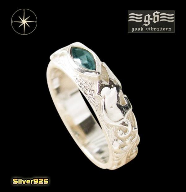 ネコ good vibrations【GV】ネコとロンドンブルートパーズの指輪(1)07号・09号・11号・13号・15号・17号/(メイン)動物・猫・ねこ・天然石・パワーストーン・指輪・リング・シルバー925製・銀・・アクセサリー・メンズ・レディースgoodvibrations送料無料!