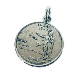 本物のアメリカのコインペンダント(4)ハワイ州 メイン コイン ペンダント ネックレス アメリカ ハワイ州 カメハメハ 硬貨 シルバー925製銀 メンズ レディース 送料無料 おしゃれ