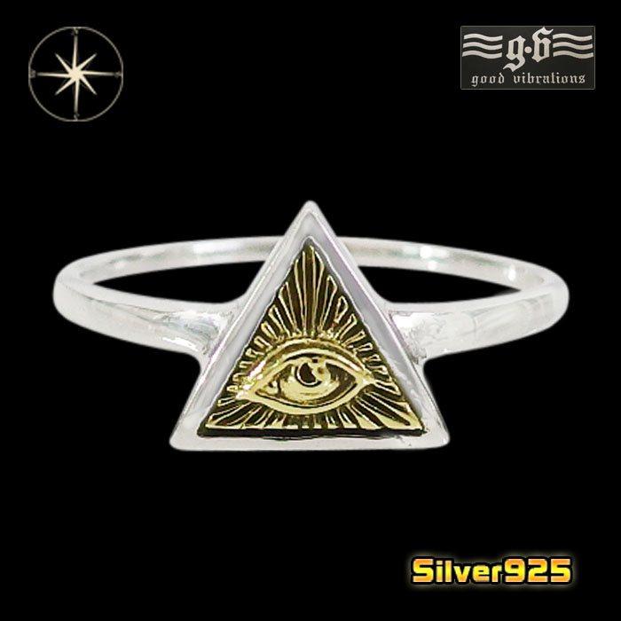 good vibrations【GV】プロビデンスの目の指輪(5)SV+B10号・11号・12号・13号・14号・15号・16号・17号・18号・19号・20号・21号・22号・23号/【メイン】 フリーメイソン メンズ 指輪 シルバー925銀 goodvibrations