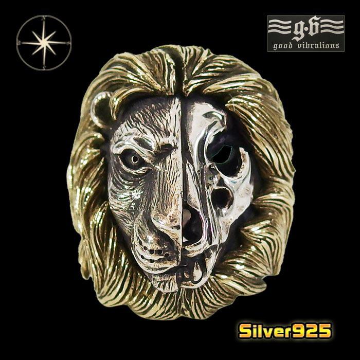 good vibrations【GV】ライオンリング(1)SV+B17号・18号・19号・20号・21号・22号・23号・24号・25号/【メイン】 動物 獅子 メンズ 指輪 シルバー925銀 goodvibrations