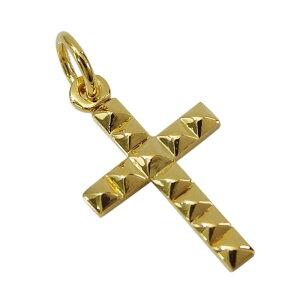 24Kコーティングスタッズクロス(1) メイン シルバー925 銀 ペンダント ネックレス メンズ レディース 送料無料 十字架 クロス 金色 ゴールド 送料無料 おしゃれ