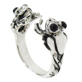 カエルの指輪(オニキス)11号フリーサイズ シルバー925 銀 メンズ レディース オニキス 天然石 リング 蛙 aft