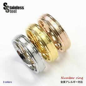 ステンレス リング(57) ローマ数字 選択可 銀色 金色 ピンクゴールド メイン サージカルステンレス316L 金属アレルギー対応 メンズ レディース ナンバー シンプル 大人 おしゃれ