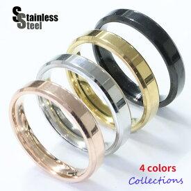 ステンレス リング(13) 金色 銀色 ピンクゴールド 黒色 カット 細め メイン サージカルステンレス 316L 指輪 送料無料 シンプル 金属アレルギー対応 ニッケルフリー