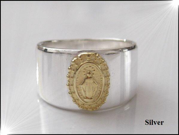 10OFマリアの指輪(1)SV+G17号・18号・19号・20号・21号・22号・23号/シルバー【メイン】銀 リング 指輪 シルバー925 (人気商品)(メンズ)/マリア アクセサリー (SILVER925 MARIA RING )送料無料!