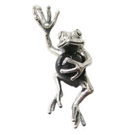 カエルのペンダント(15)オニキス シルバー925 銀 ネックレス 動物 蛙 カエル aft