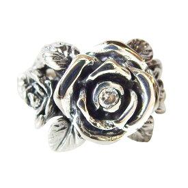 バラの指輪(1)CZ 13号 15号 17号 18号 19号 21号 23号 25号 メイン シルバー925 指輪 銀 リング メンズ レディース 薔薇 花 フラワー ROSE ジルコニア 送料無料 おしゃれ