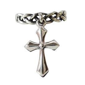 \半額セール/十字架が揺れる指輪(1) メイン シルバー925 指輪 リング 銀 十字架 クロス メンズ レディース きゃしゃ シンプル 送料無料 おしゃれ