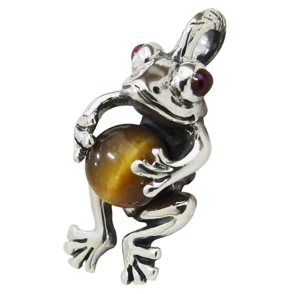 カエルのペンダント(1)タイガーアイ 蛙ペア天然石シルバー925 銀 メイン ネックレス メンズ レディース カエル 蛙 かえる ネックレス ペンダント バレンタイン 2019 送料無料 おしゃれ