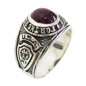 カレッジリング(14)ガーネット メイン 指輪 シルバー925 銀 メンズ 高級感 卒業 記念 カレッジリング 指輪 COLLEGE 送料無料 おしゃれ 天然石 パワーストーン 赤色 レッド