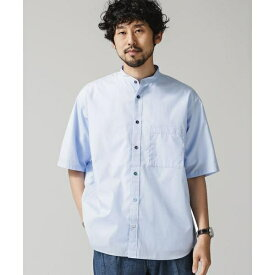 バンドカラークレイジーボタンビッグシャツ/半袖/ナノ・ユニバース