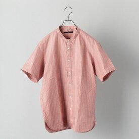SHIPS: 高密度ツイル バンドカラー ショートスリーブシャツ/シップス