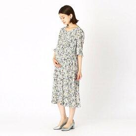 〔マタニティ〕ヴィンテージ風フラワープリント ドレス/コムサ・ブロンドオフ