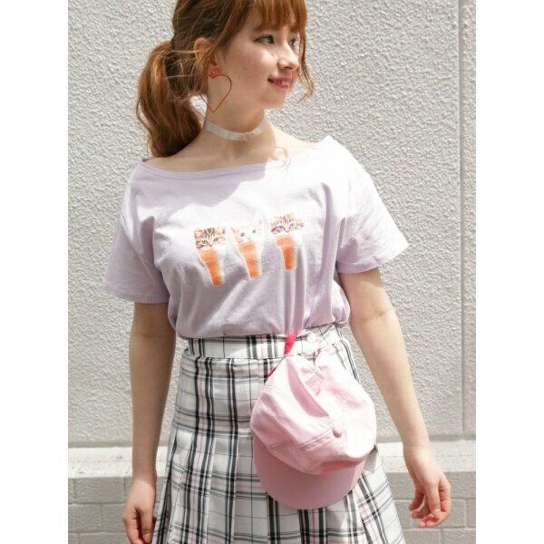 ウィゴー(WEGO/にゃんスクリームオフショルTシャツ)/ウィゴー(レディース)(WEGO)