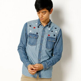 810d86a3038 インディゴPOPシャンブレーシャツ(刺繍)/クリフメイヤー(メンズ)(KRIFF MAYER