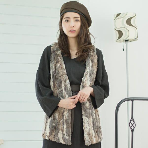 ラビットフェイクファー ロングベスト/goa(goa)【dl】0101marui