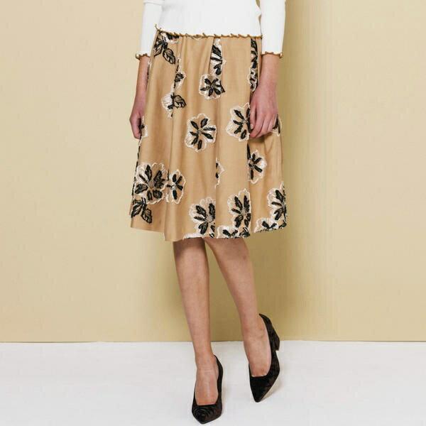 【大きいサイズ】フラワージャガードスカート/クイーンズコート(大きいサイズ)(QUEENS COURT)