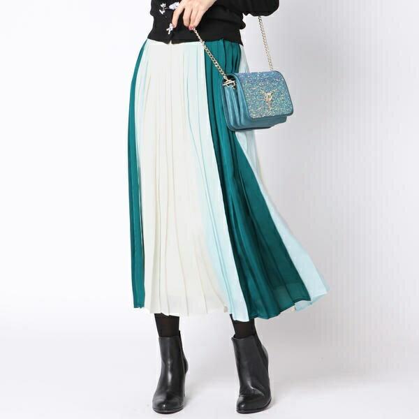 【大きいサイズ】配色プリーツスカート/クイーンズコート(大きいサイズ)(QUEENS COURT)