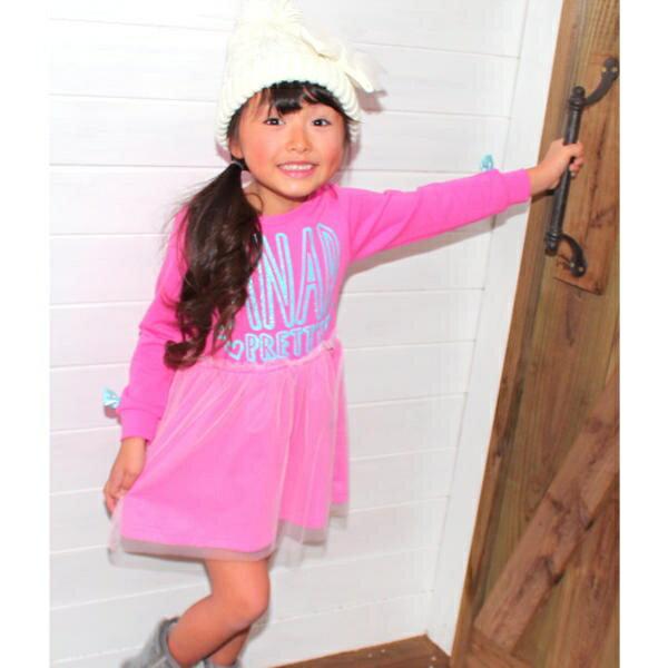 袖リボン重ねチュールスカートワンピース/アナップキッズ&ガール(ANAP KIDS&GIRL)