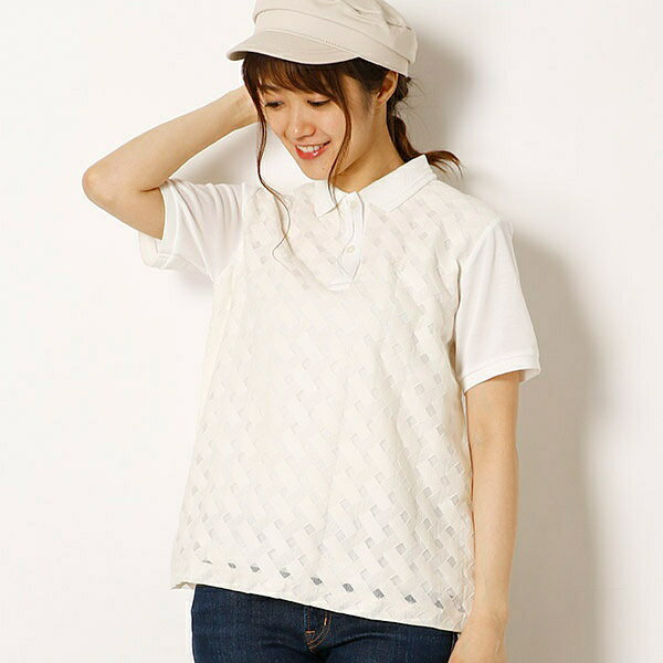 【18SS】LACE BLOCK PIQUE SHIRT/フレッドペリー(レディス)(FRED PERRY)