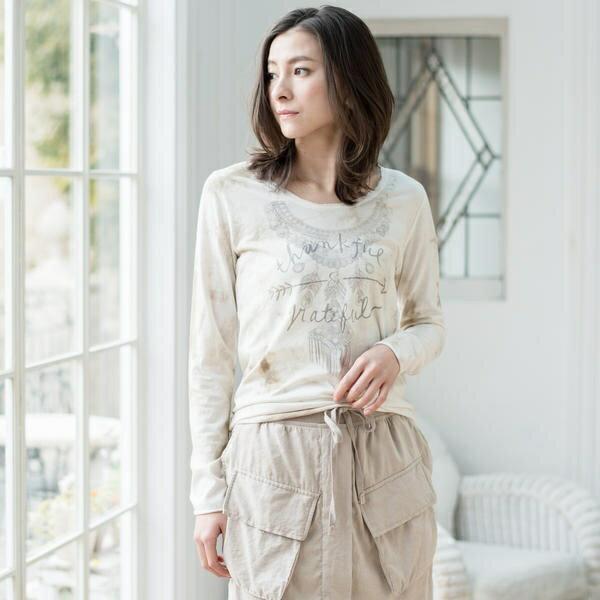 T/C ムラ染め Thankful Necklace ロングTシャツ/goa(goa)keeeeeydl0101