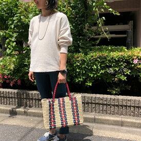 ペーパーストライプかごトートバッグ【A4サイズ対応】/クーコ(cooco)