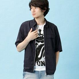 ストレッチ入り!!麻レーヨンZIP UPシャツ型5部袖ブルゾン/ルパート(VOGUISH/ヴォーギッシュ)